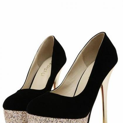 Black And Gold High Heels Fashion S..