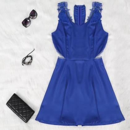 Sexy Blue Lace Backless Dress