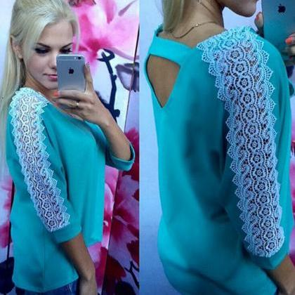 V-Neck Backless Lace T-Shirt