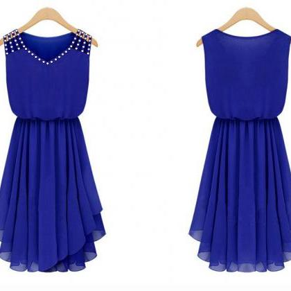 Sweet Blue V-Neck Solid Chiffon Kne..