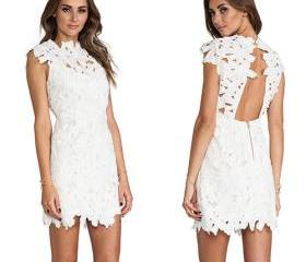 Sexy Backless Hollow Out Lace Crochet Dress