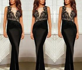 Fashion Lace Spliced Sleeveless Floor-Length Party Dress