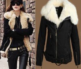 Women'S New Warm Lush Fur Winter Coat Black Outerwear Jacket Parka