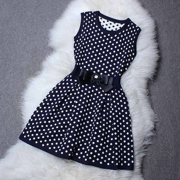 Navy Style Point Knitted Dress