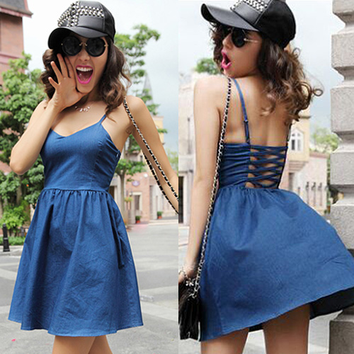Sexy Backless Gathered Waist Sling Denim Dress