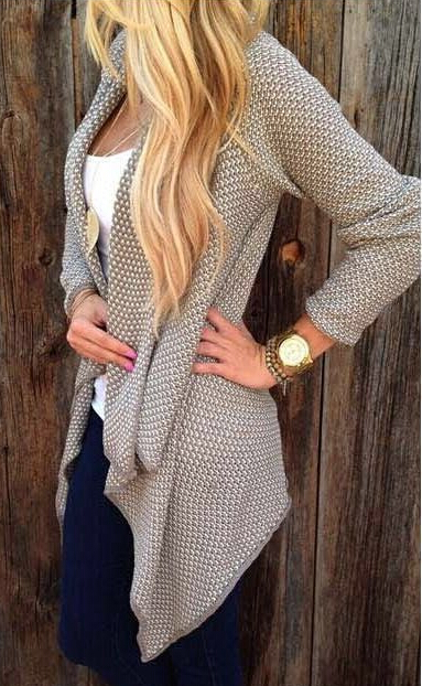 Loose Irregular Leisure Ladies Knitted Cardigan Coat