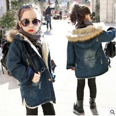 New girls jean jacket cuhk children with velvet thickening waist children hooded windbreaker