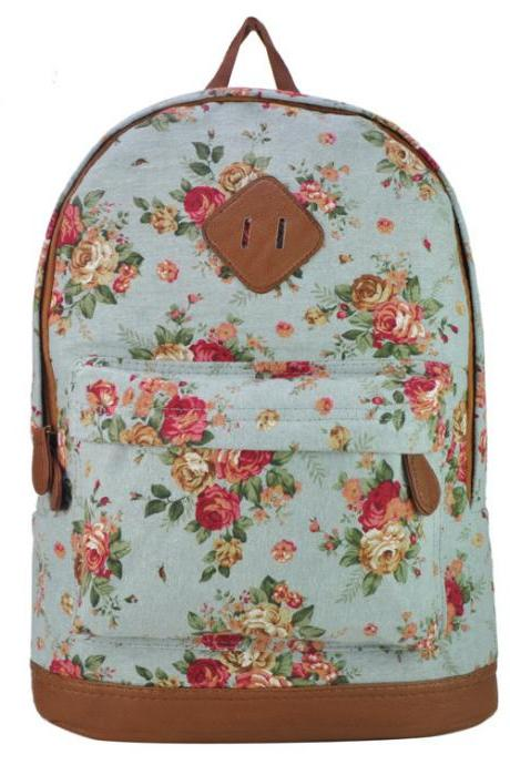 Preppylook Vintage Rose Flower Print Casual Outdoor Sports College Students Canvas School Backpack