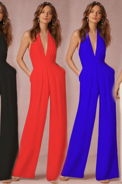 Autumn casual jumpsuit sexy sleeveless neck jumpsuit