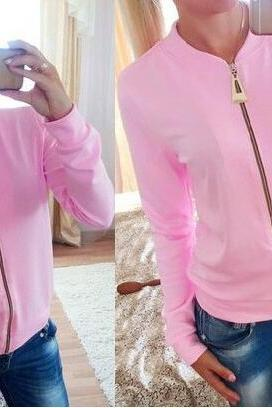 Sexy Pure Color Zipper Jacket Coat