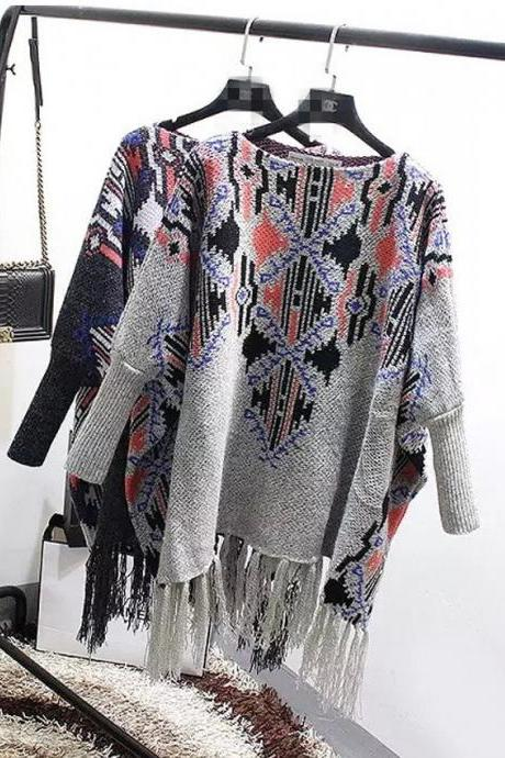 Batwing Coat In Irregular Fringed Shawl Long Turtleneck Sweater