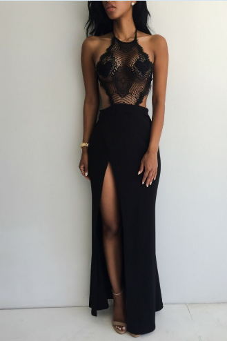 SLIM LACE BLACK HALTER DRESS