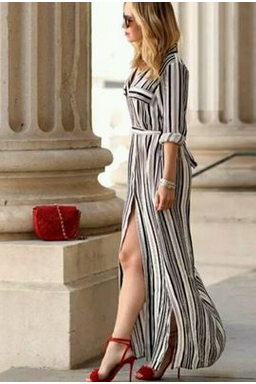 Stripe long-sleeved dress skirt restoring ancient ways