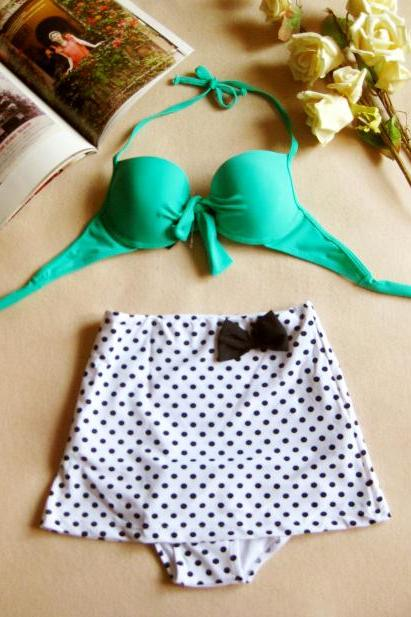 Vintage Pin Up High Waist Retro Swimsuit Bikini