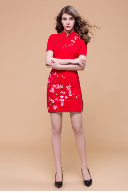 Chinese wind cotton short qipao dress HL