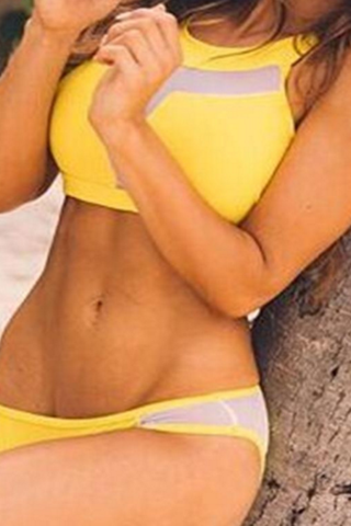 HOT YELLOW SEXY GAUZE HIGH NECK TWO PIECE FRESH BIKINI