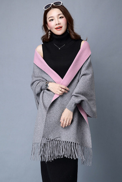 New winter women's cardigan sweater coat Tassel sweater cloak shawl