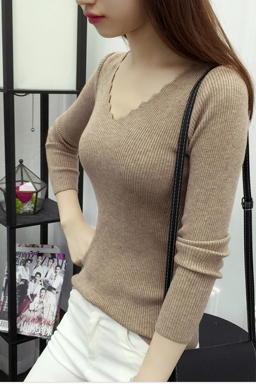 Fashion pure color render knitting sweater sweater v-neck cultivate one's morality