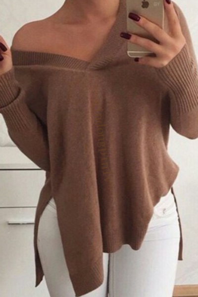 Explosion models women's fashion loose casual long-sleeved V-neck sweater female