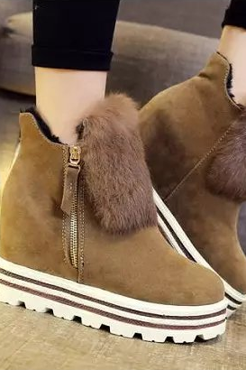 Fall thick waterproof increased within Taiwan fashion short boots bottom anti-slip leisure shoes