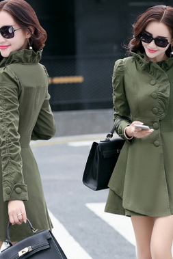 Lady's collar fashion cultivate one's morality in the single-breasted long-sleeved long coat