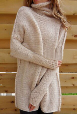 Turtleneck Long Knitted Pullover Sweater