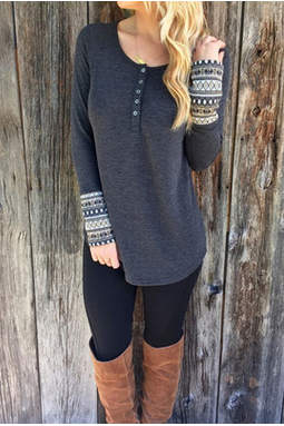 Long sleeve top Cuff printing winter T-shirt