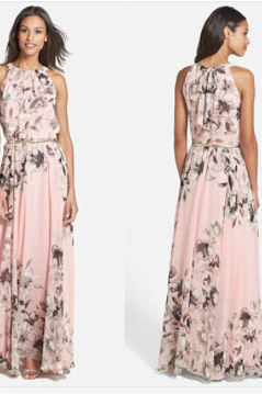 Summer dress pink floral printed sleeveless dresses Long skirt TY