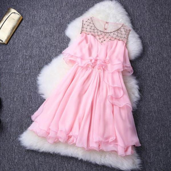 Fashion Shine Snowflake Rhinestone Flouncing Dress