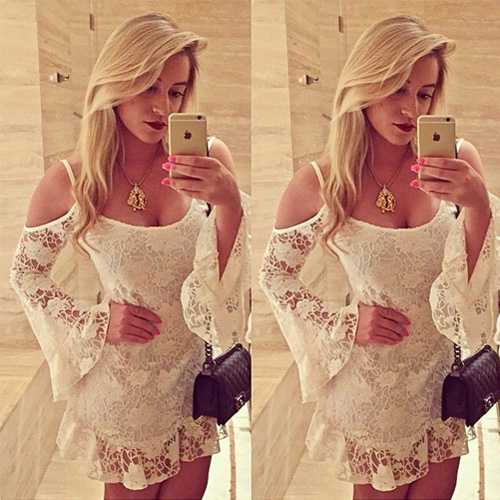 Sexy Off-Shoulder Hollow Out Lace Sling Dress