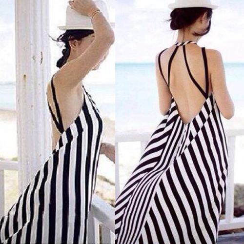 Bohemian Style Backless Sling Striped Dress