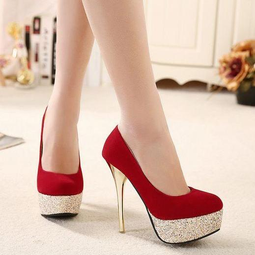 Gorgeous Red High Heels Fashion Shoes