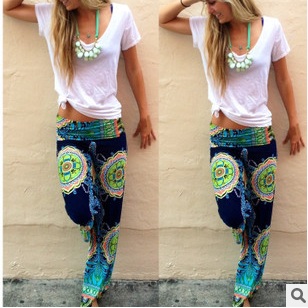 Women's clothing printing Leisure long wide-legged pants Female trousers WB