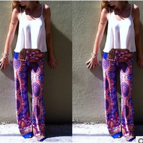 Printing leisure trousers wide-legged pants WB