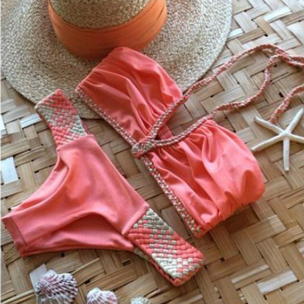 HOT V TWO PIECE CUTE BRAID BIKINIS