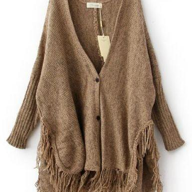 Batwing Long Sleeve V-Neck Tassel Hem Cardigan