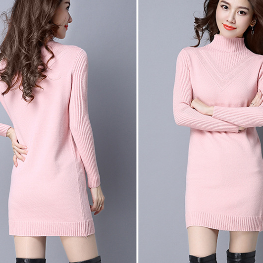 Knitted High Neck Long Sleeves Short Sweater Dress