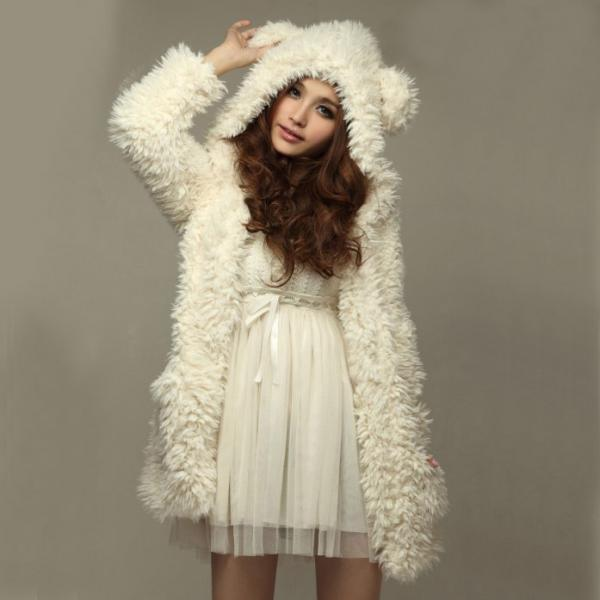 Free Shipping White Bear Ear Shape Hood Lambswool Coat/Hoodies