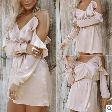 Pink summer dress sexy low-cut off-the-shoulder falbala condole belt dress TY
